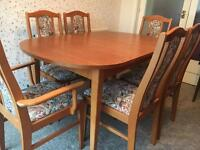 Extending dining table & 6 chairs