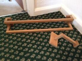 B&Q oak towel rail and toilet roll holder