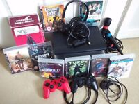 PS3 bundle console super slim 500 GB, 2 controller, 8 games, Singstar mics, original Sony headset