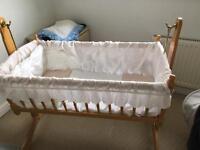 Pine swinging crib