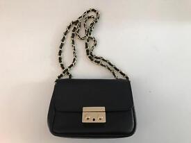 Small dark blue Italian leather evening bag.