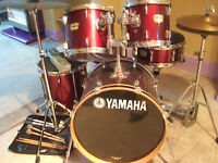 Yamaha YD Series 5 piece cherry red drum set in excellent condition