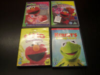 4 x Childrens DVDs Sesame Street Elmo and Kermit the Frog