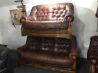 Brown leather 3 and 2 sofas