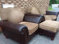 Real leather and material 3 piece suite