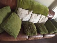 Olive green and beige quote cushions