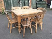 Rustic Scrub Top Kitchen Dining Table and Chairs