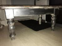 Wooden Coffee Table painted with a metallic grey