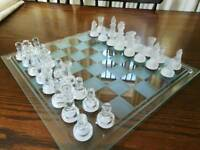 Crystal cut clear and frosted glass chess set