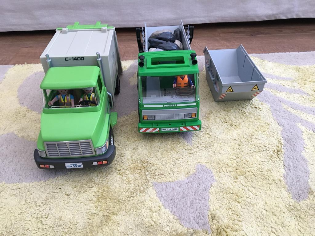 Playmobil recycling truck and skip lorry
