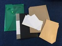 White&brown envelopes + A4 black fold-over clipboard + A4 green plastic document folder_£3 for ALL