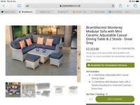 Bramblecrest Monterey Dove Grey Mini Sofa Garden Set, Brand New