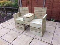High Quality Handmade Wooden Garden Love Seat
