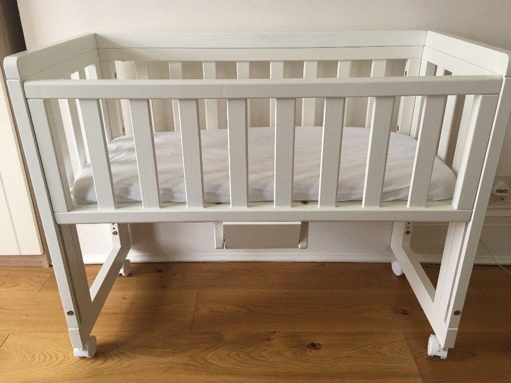 Troll Bedside Cot by John Lewis (white) + mattress