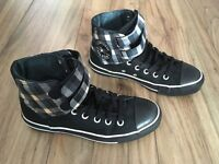 Black, white & orange converse boots, size 5