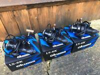 3 x okuma reels carp fishing