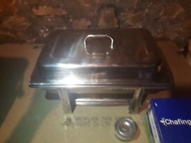 3 large Stainless steel catering Chafing dishes with full box of chafing fuels