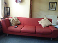 Red Habitat Sofa Chaise Lounge style.
