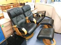 Black leather stressless chair plus stool