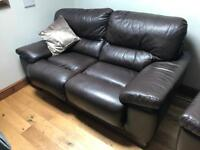 Brown Leather two seater sofa and chair. New price £80. Must be collected 😁