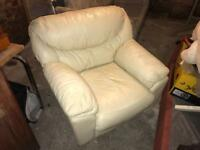 Cream leather chair + free delivery
