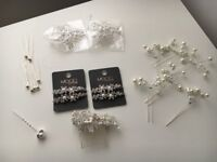 hair accessories selection (bridal/bridesmaids), pearls and glass beading, unused