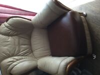 GENUINE LEATHER ARMCHAIR IN AS NEW COND.QUICK SALE £15.PHONE ONLY.