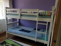 White bunk bed full single bed size