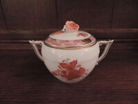 Herend China Sugar Bowl in 'Rust Chinese Bouquet' Pattern
