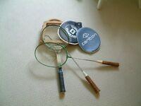 2 Badminton rackets & 1 Vintage Dunlop raquet with clamp