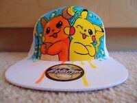 Pikachu, Raichu, Pokemon - Custom hand drawn Snapback Hat Cap - Posca
