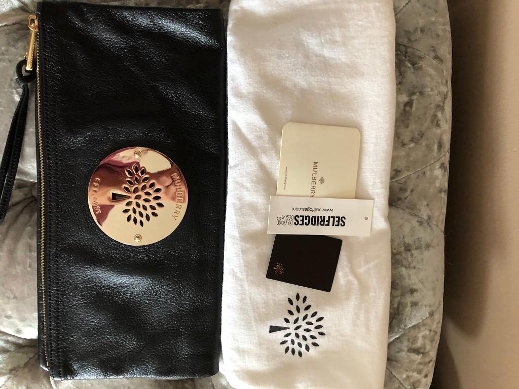 62e5bbcbe7e6 Genuine Mulberry Daria Leather Clutch Bag Black