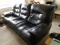 excellent 2 and 3 seater real leather settees