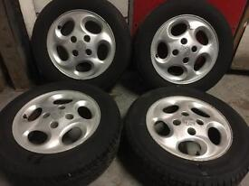"""Peugeot alloy wheels 14"""" with tyres"""