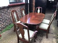 Regency style dining table and six chairs