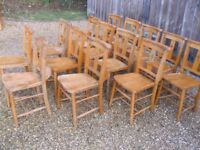 OLD CHURCH PEW CHAIRS. Delivery possible. MORE CHAPEL CHAIRS FOR SALE.
