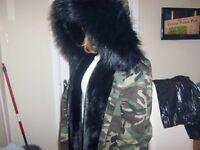 ladies lola belle london parka jacket/coat size(M) cost over £700 new unused excellent