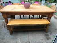 Solid wood rustic farmhouse dining table 5 chairs and bench