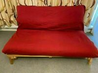 Futon Company Sofa Bed Mattress -NO Wood Base just sofabed mattress only + removable red heavy cover
