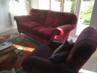 LAURA ASHLEY THREE SEATER VELVET SOFA IN CRANBERRY