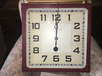 "Splendid Brand New Extra Large Gas Station Clock Burgundy 19""x19"""