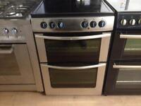 Silver 60cm electric cooker with double oven