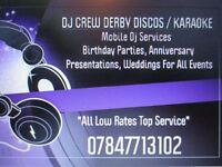 DJ CREW / Derbyshire Mobile dj / Karaoke Services