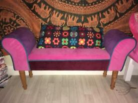 Multicoloured patchwork chaise pouffe lounge chair sofa.