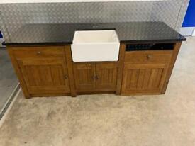 Freestanding kitchen Belfast sink unit with Granite top laura Ashley john Lewis habitat loaf Neptune