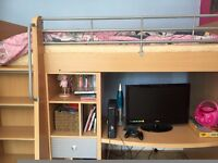 High Sleeper Cabin Bed with desk, shelving and storage