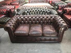 Stunning brown leather chesterfield 3 seater sofa high quality UK delivery