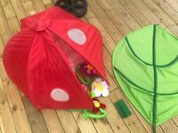 ++ IKEA ++ KORALL ANEMON (play tent) + LOVA (leaf canopy) + fabric FLOWERS ++ outdoor indoor set