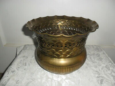 Vintage Solid Brass Planter W Cut Out Hearts - Elaborate Design Fluted Top 6.25