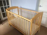 Wooden drop side cot
